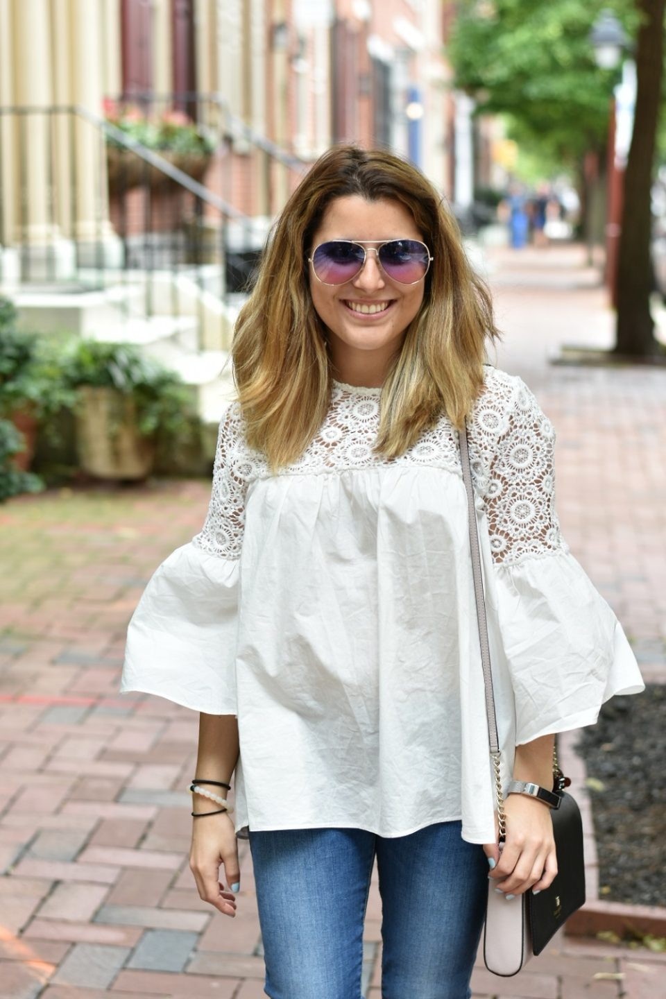Lace Crochet and Bell Sleeve Top